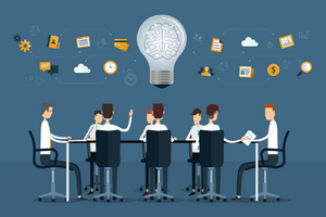illustration of people sitting around a table brainstorming ideas with a lightbulb graphic
