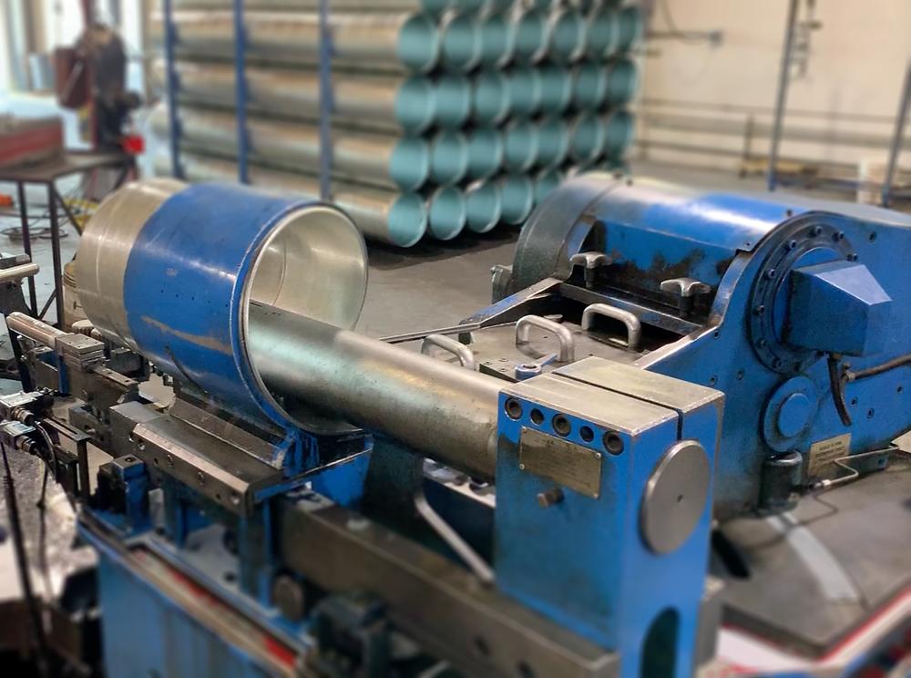Blue spiral duct machine