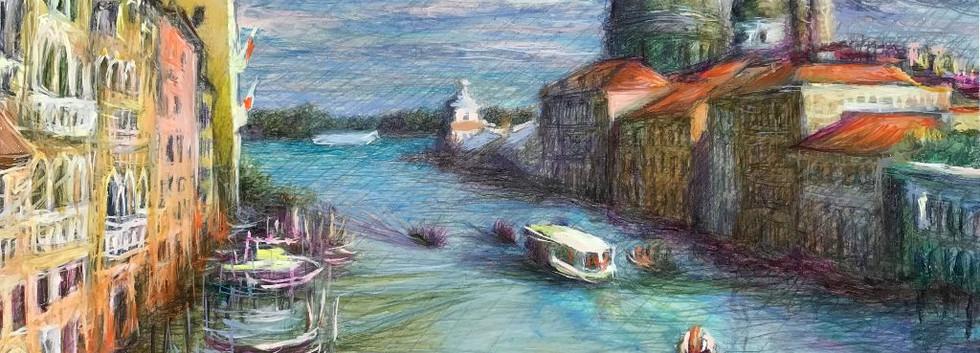 Andrea Canale - Canal Grande con vaporetto