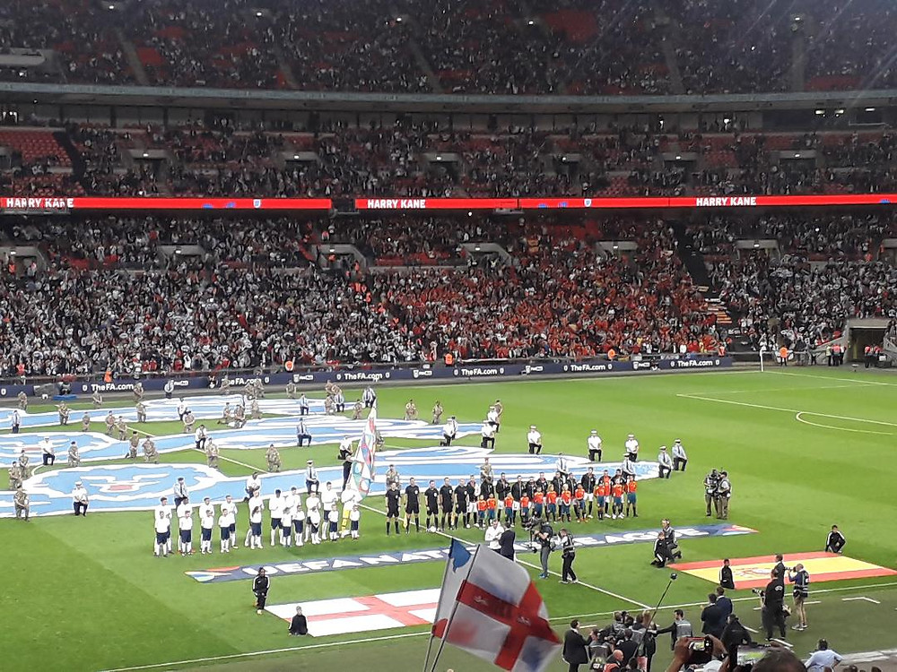 England and Spain line up before kick off
