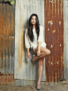 Model in White Dress
