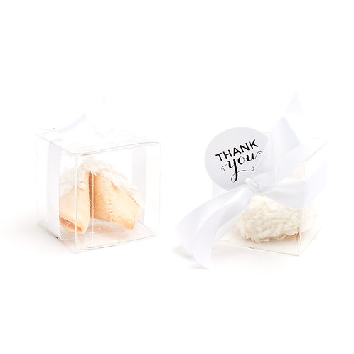 25 Shaved Coconut Flakes Boxed Fortune Cookies