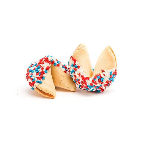 25 Patriotic Star Sprinkles Bulk Fortune Cookies