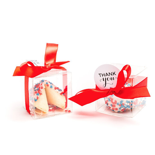 25 Patriotic Star Sprinkles Boxed Fortune Cookies