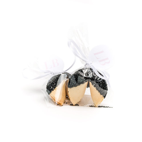 25 Black Sugar Wrapped Fortune Cookies