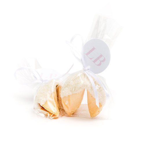 25 White Sugar Wrapped Fortune Cookies