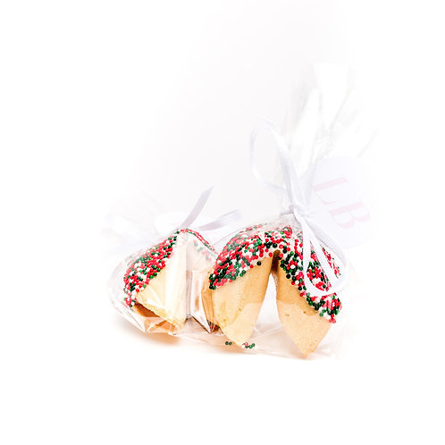 25 Christmas Round Sprinkles Wrapped Fortune Cookies