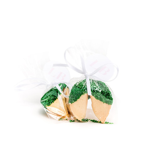 25 Green Sugar Wrapped Fortune Cookies