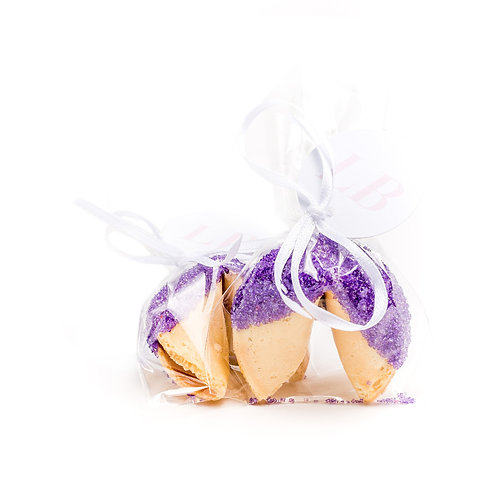 25 Purple Sugar Wrapped Fortune Cookies