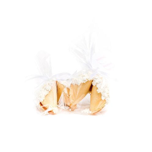 25 Snowflakes Sprinkles Wrapped Fortune Cookies