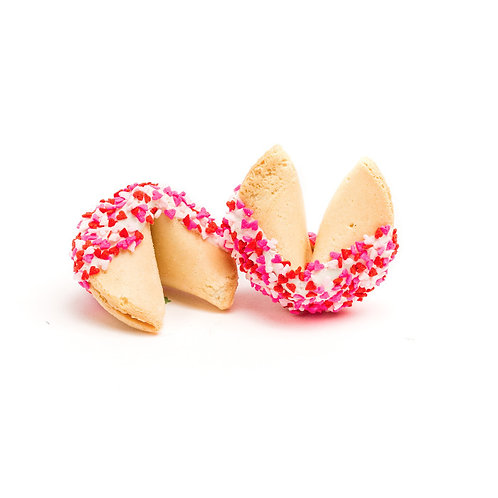 25 Valentine's Day Heart Sprinkles Bulk Fortune Cookies