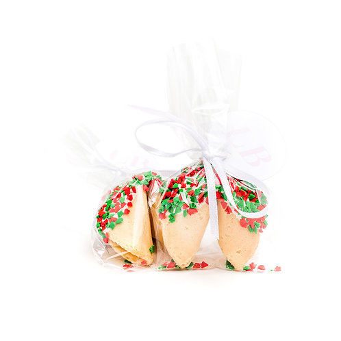 25 Christmas Tree Sprinkles Wrapped Fortune Cookies