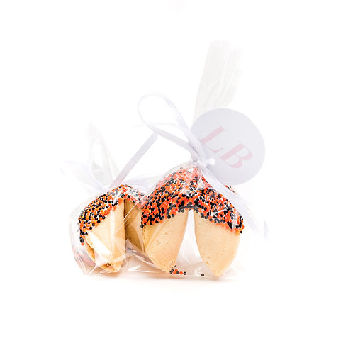 25 Halloween Round Sprinkles Wrapped Fortune Cookies