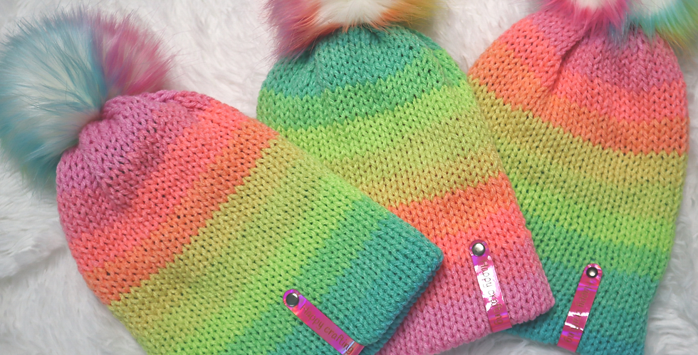Tiktok beanie - fitted with rainbow pom - ADULT size - Retro stripes rainbow hat