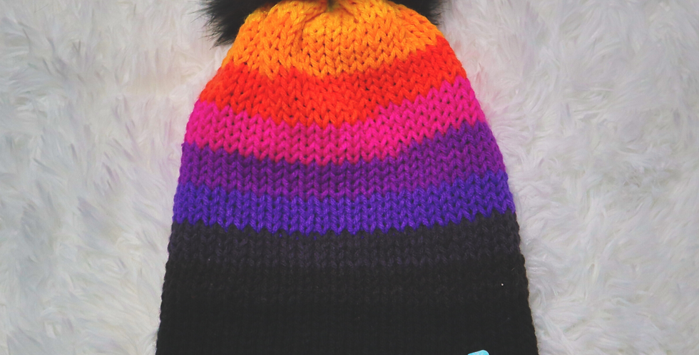 Evil Twin beanie - fitted with black pom - ADULT size - Bright