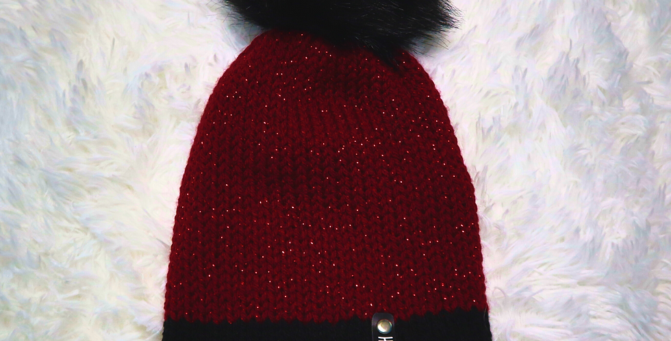 Maroon sparkle beanie - fitted with black pom - Adult size