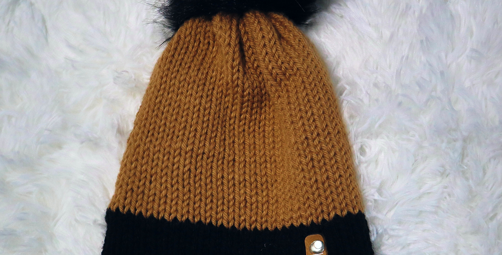 Carhartt inspired beanie - fitted with black pom - ADULT size - Neutral