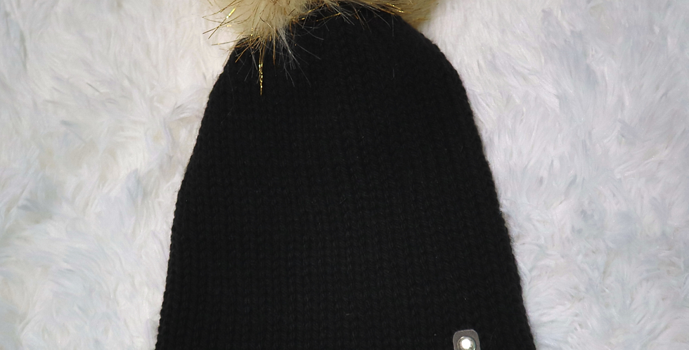 black and gold beanie - fitted with black pom - ADULT size - Neutral