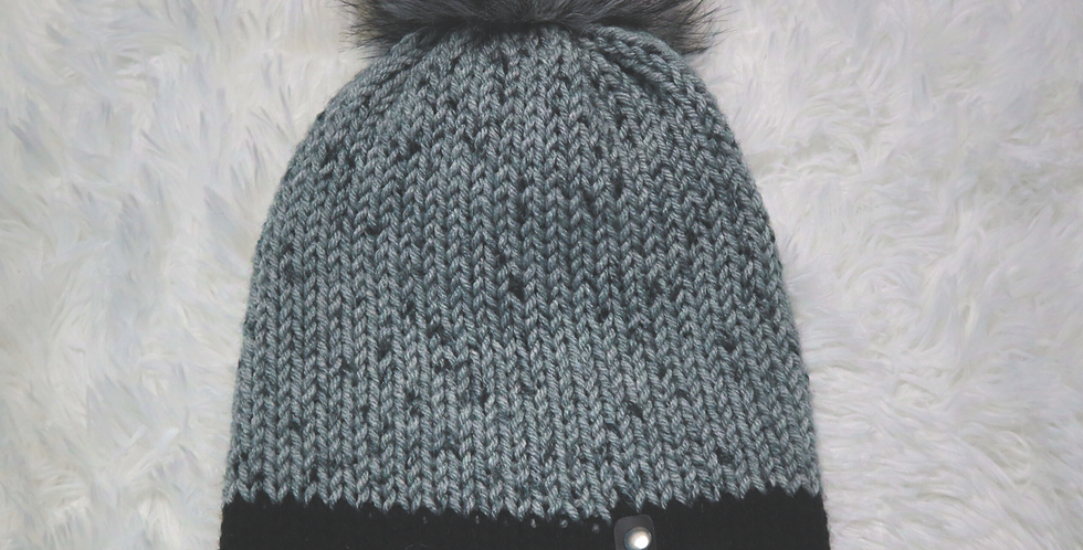 Gray tweed beanie - fitted with gray pom - ADULT size - Bright