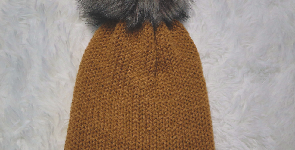 Carhartt inspired beanie - fitted with gray pom - ADULT size - Neutral