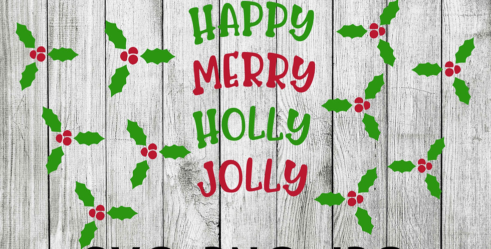 Full Tumbler wrap for color changing cups - Happy Merry Holly Jolly Christmas