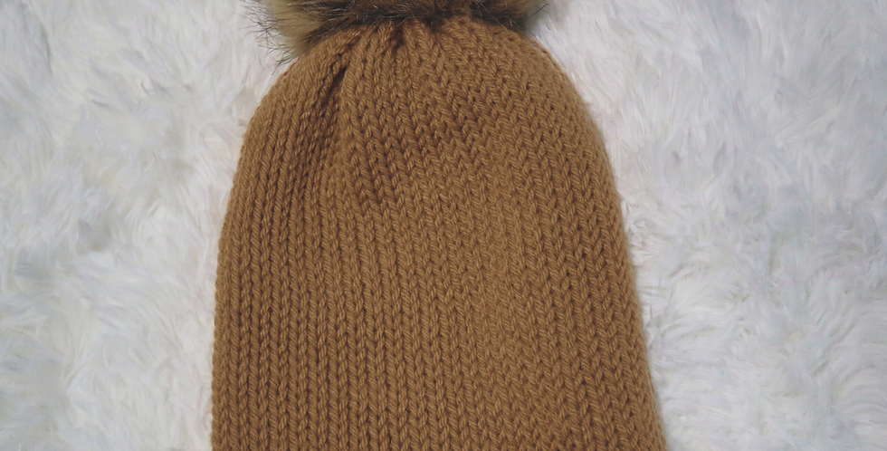 Carhartt inspired beanie - fitted with brown pom - ADULT size - Neutral h