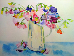 First of the sweet peas Watercolour 42 x