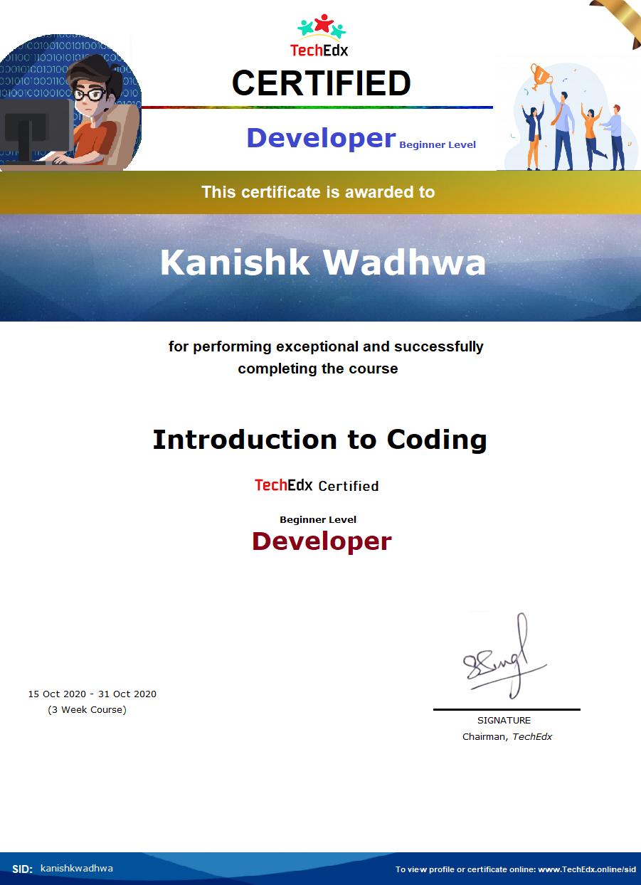 Kanishk Wadhwa Begineer Level Developer.