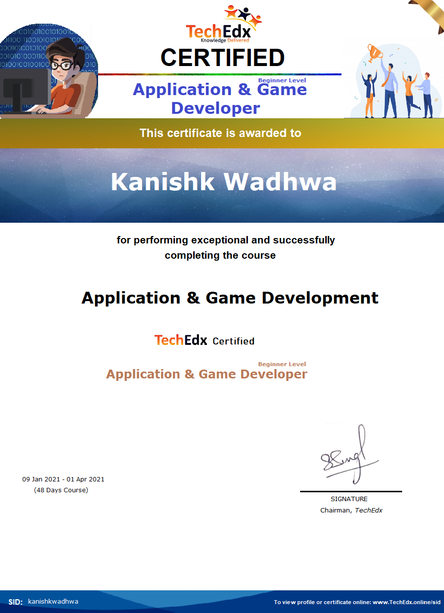 Application & Game Development - Kanishk