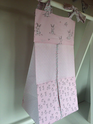 Pink Rabbits & Flowers Nappy Stacker.