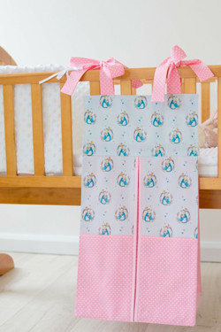 pink and blue peter rabbit design nappy stacker