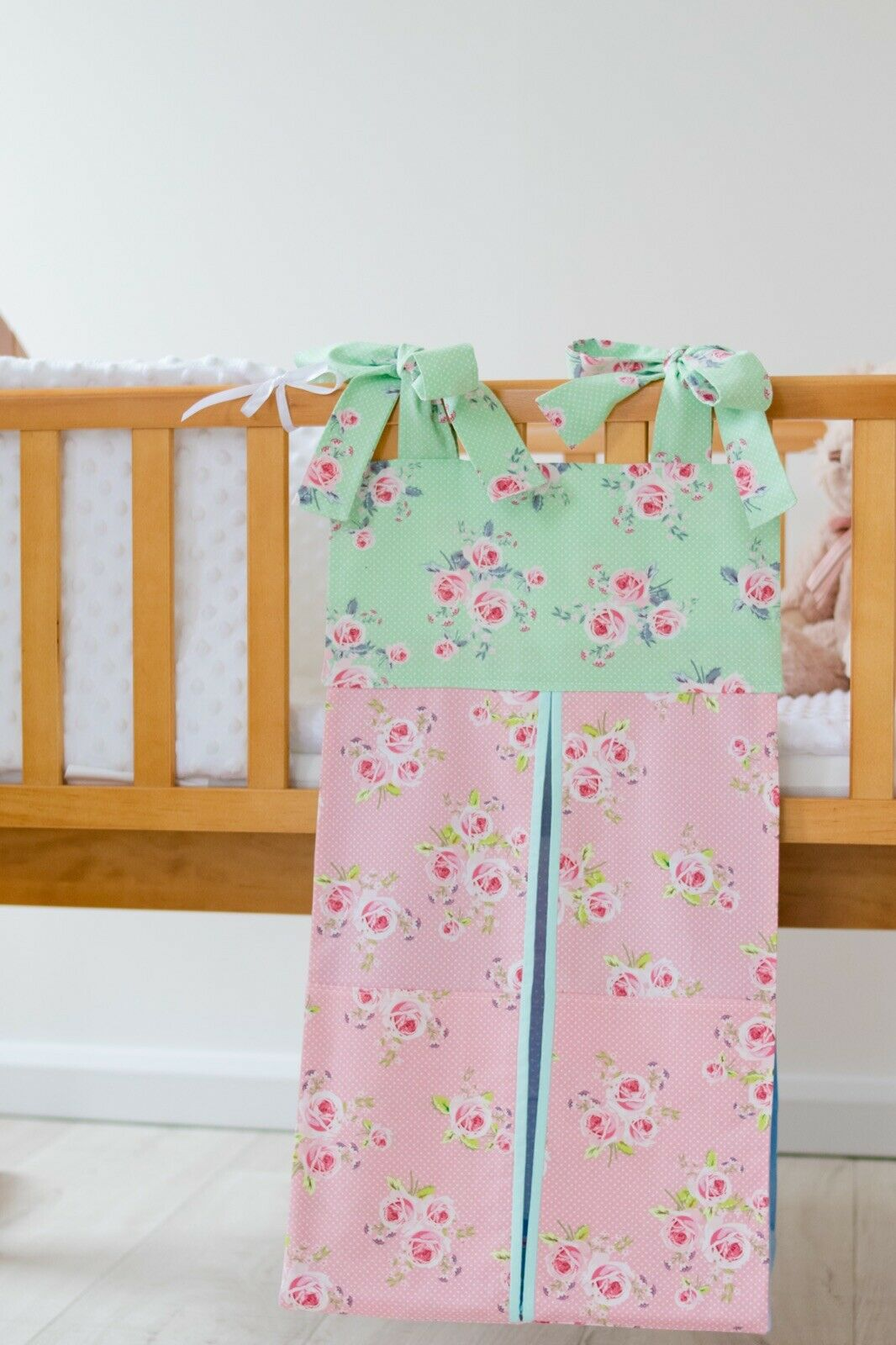 pink, green and blue flowers nappy stacker design