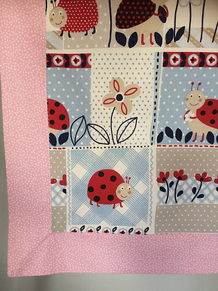 Pink Ladybug Baby/Receiving Blanket.