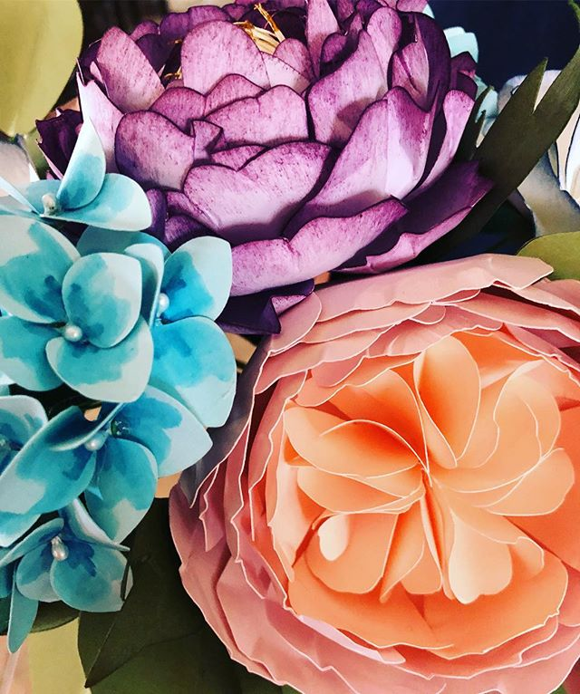 Peonies, hydrangeas and roses oh my...I love this detail shot on all the hand shading. It try makes
