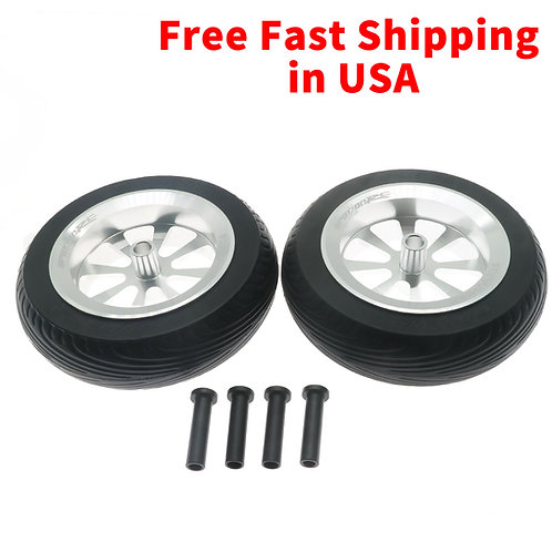 "FlyWheelz™ 5""-130mm Eight Spoke PU Wheels(pair) + 2pcs more tires (WRA-012TIRE)"