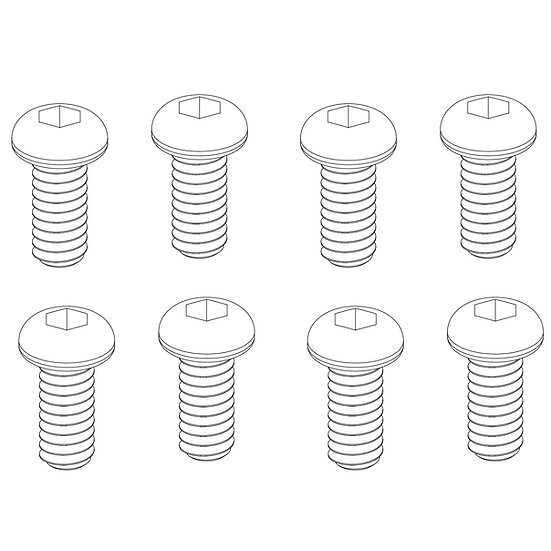 Button Head Hex Screws 2x4mm(8)