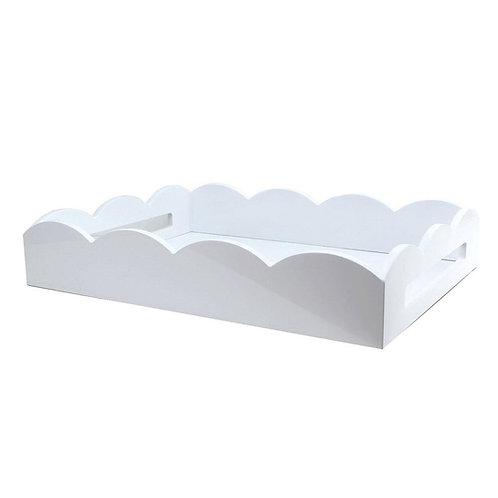 Lakkbrett Scallop - White