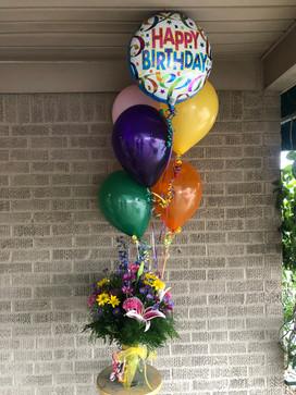 Happy Birthday Balloon Bouquet + Fresh Florals