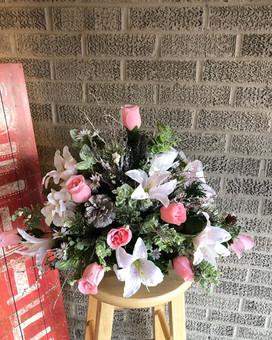 Pink Silk Brick Arrangment - Grave Marker