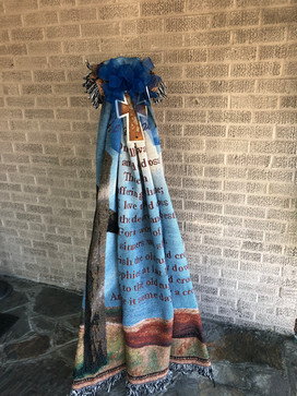 Afghan Sympathy Blanket + Rustic Cross on Stand
