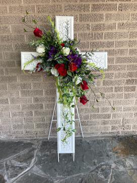 White Metal Cross with Silk Embellishment