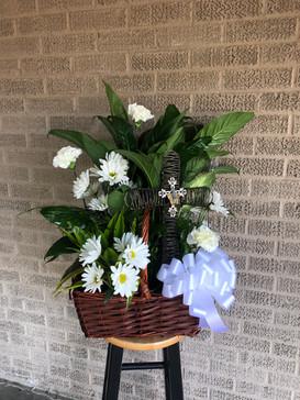 Large Wicker Plant Basket + Fresh Flowers + Metal Cross