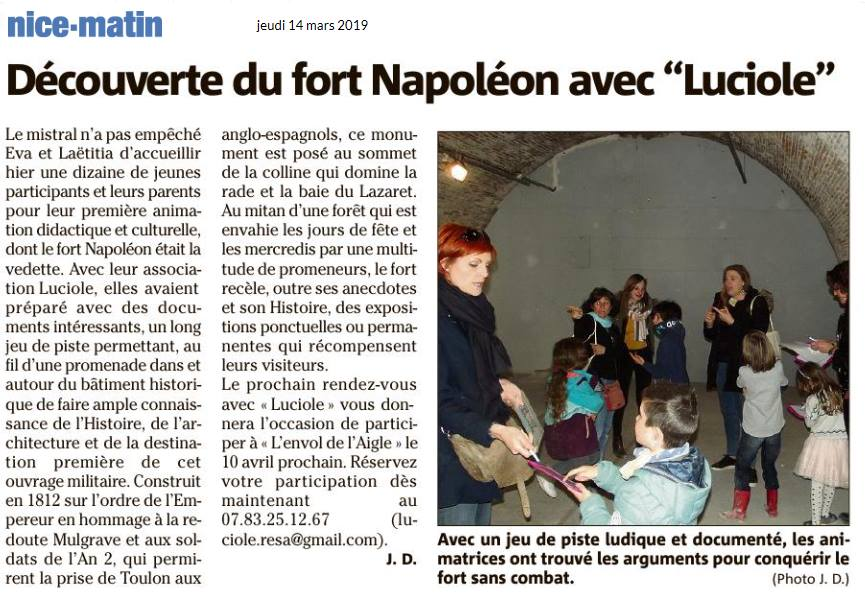 Article Nice Matin du 14/03/2019