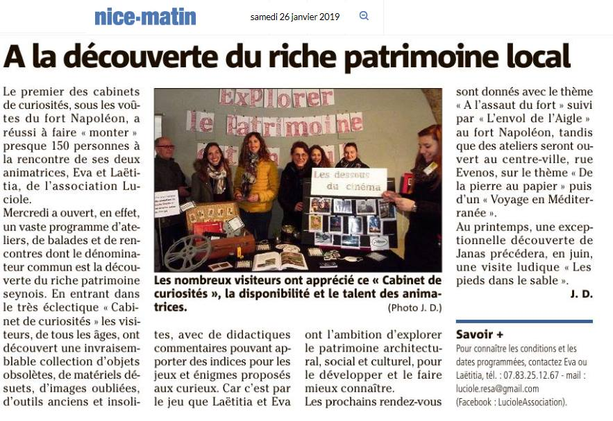 Article Nice Matin du 26/01/2019