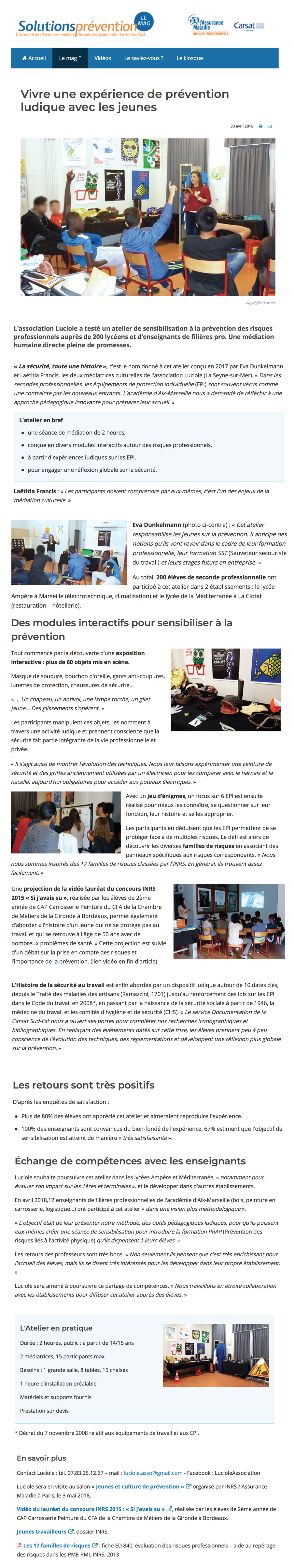 Article de Solution Prévention