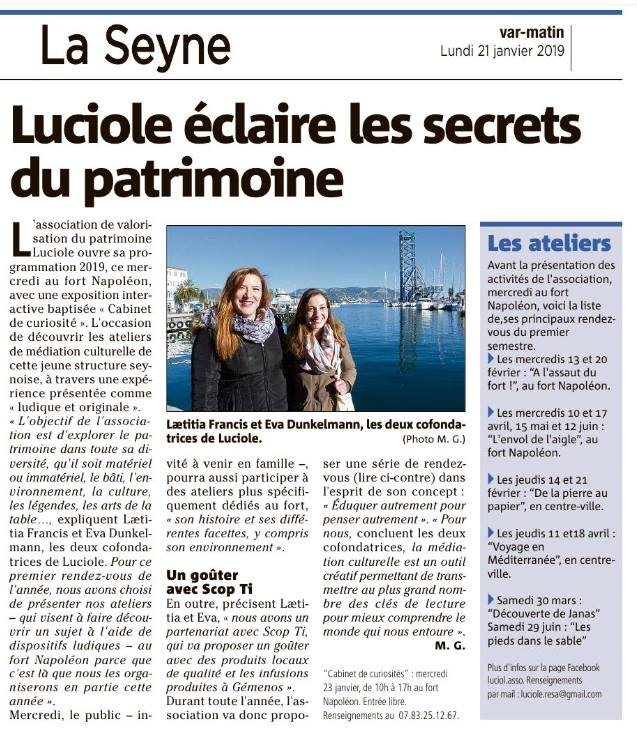 Article Var Matin du 21/01/2019