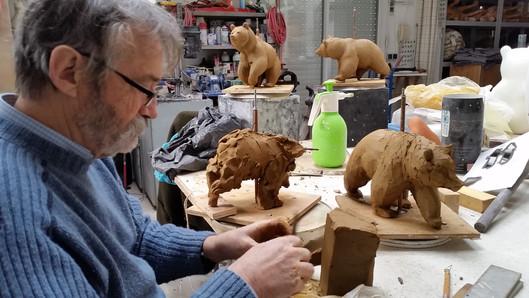 modelage en argile d'ours