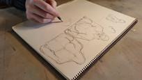 Michel Bassompierre making a sketch