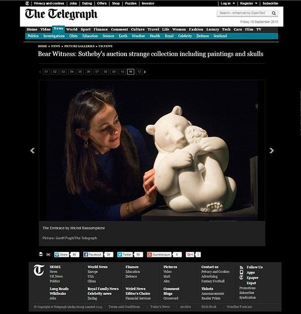 Annonce dans The Telegraph de la vente Bear witness avec un marbre BASSOMPIERRE