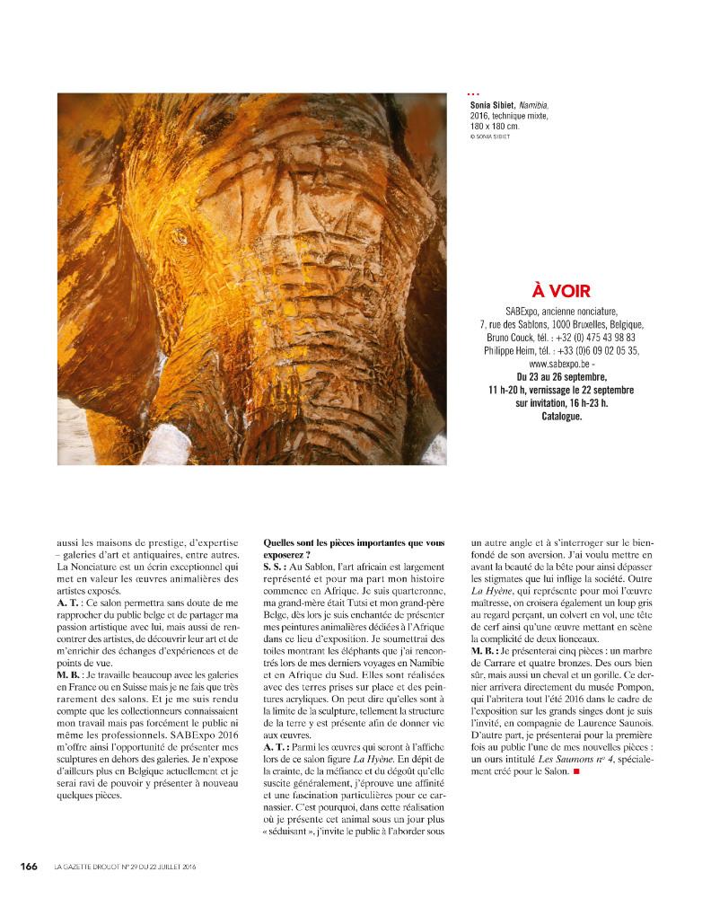 LA GAZETTE DROUOT n°1629 juillet 2016 - p166